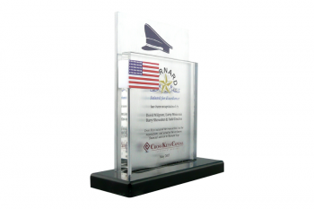Clear lucite panel with a metal plate backdrop, plexiglass flag mounted on a metal rod