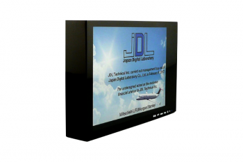 Black plexiglass shadowbox, artwork printed on front & back