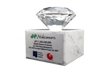 Clear crystal diamond mounted on a white marble base
