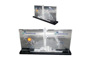 Multi layered crystal award, 3D etching