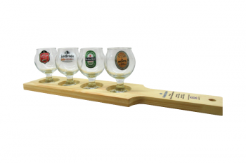 Customized serving board with recesses for goblets, TS color filled etched on the handle
