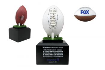 Wooden base, turf platform and pegs for a custom printed & personalized mini-football