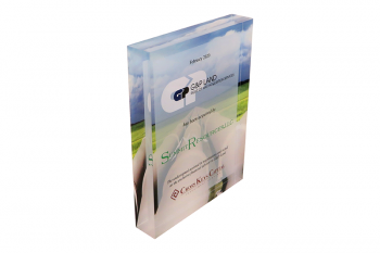 Clear Lucite panel with an image printed on back.