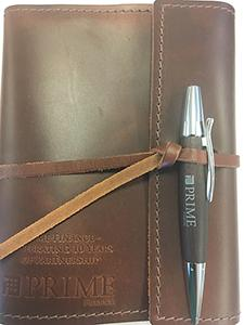 Rustico Writers Log Leather Notebook.  Art debossed on front.